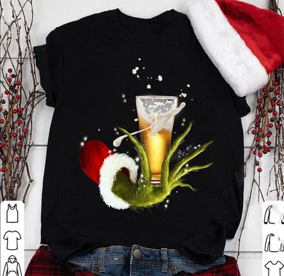 Grinch Hand Holding Beer Christmas Shirt